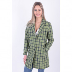 Palton Lana Only Lina Check Coat Oil Green, Verde, S