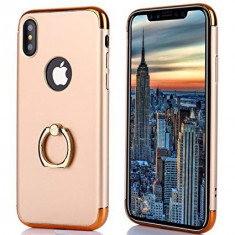 Husa Apple iPhone X, Elegance Luxury 3in1 Ring Auriu, MyStyle