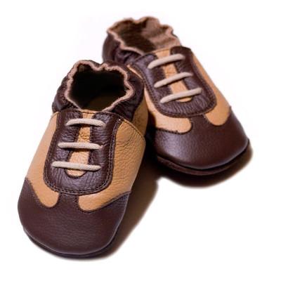 Pantofi cu talpa moale Liliputi Brown Sport foto