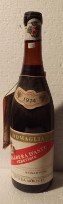 77 - VIN BARBERA D'ASTI SUPERIORE, DOC, SOMAGLIA recoltare 1974 cl 72 gr 13 foto