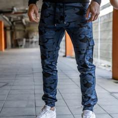 Pantaloni joggers cargo pentru bărbat albaștri Bolf 0404