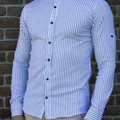 Camasa negru alb - camasa slim fit camasa barbat camasa ocazie cod 196, M, S, XL, XXL, Maneca lunga, Din imagine