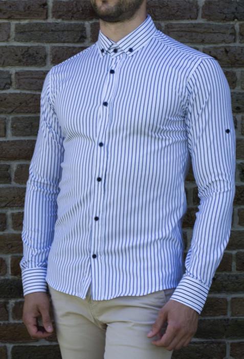 Camasa negru alb - camasa slim fit camasa barbat LICHIDARE STOC cod 196