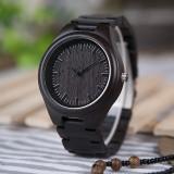 Ceas din lemn Bobo Bird negru cu curea din lemn, H05