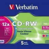 Mediu optic Verbatim BLANK CD-RW 8-12X 700MB 5 bucati colorate