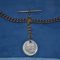 LANT CEAS de BUZUNAR ARGINT 800 - Cu monede vechi - Vintage - 35cm - 50g. !