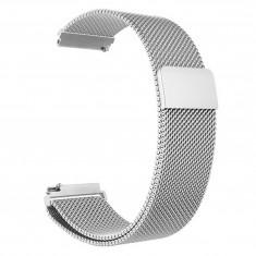 Curea metalica compatibila Samsung Gear S3, Milanese Loop, telescoape Quick Release, 22mm, Argintiu