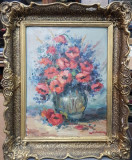 Vaza cu flori, semnat indescifrabil