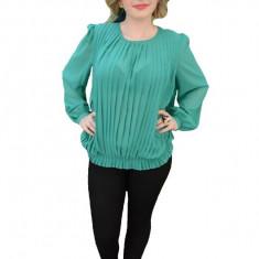Bluza casual cu design de fronseuri verticale, nuanta turcoaz