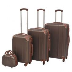 Set de valize dure, cafeniu, 4 buc.