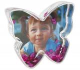Glob foto fluture cu inimioare personalizat, 9.7×2.7×8.8 cm, fotografie inclusa