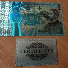 Bancnota 100 lei 2018 100 ani de la Marea Unire argint UNC CERTIFICAT