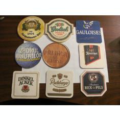Lot 9 coastere diferite carton tare / biscuiti / suporturi pahare / cu reclama