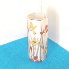 Vaza hexagonala portelan satinat, decor aur si argint coloidal - Otagiri Japonia