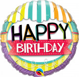 Balon Folie 45 cm Happy Birthday, Qualatex 26529