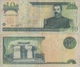 2001 , 10 pesos oro ( P-168a ) - Republica Dominicană