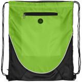 Saculet cu iesire pentru casti si buzunar frontal, poliester 210D, Everestus, 8IA19069, verde lime, eticheta de bagaj inclusa