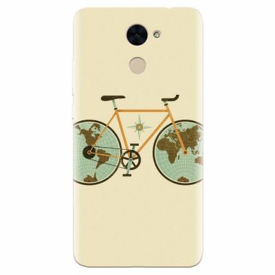 Husa silicon pentru Huawei Y7 Prime 2017, Retro Bicycle Illustration foto