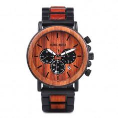 Ceas din lemn Bobo Bird cu curea din lemn, P09-3 Wooden Lux