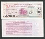ARGENTINA ( PROVINCIA TUCUMAN ) 100  AUSTRALES 1991 , UNC  , P-S 2715