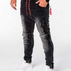 Blugi pentru barbati negru cu siret rosu model genunchi elastici slim fit P676