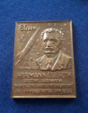 Placheta Aviatie - Cosmonautica - Hermann Oberth - medalie