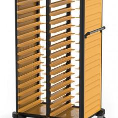 Carucior debarasare RAKI dublu tavi servire 37x53cm 15+15 30 nivele cu pereti laterali