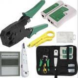 Set testare cablu UTP, FTP, RJ45, 8P8C RJ11, 4P4C, RJ12, 6P6C, cleste