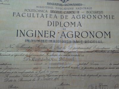 Politehnica Regele Carol II Bucuresti Facultatea Agronomie, Inginer agronom 1941 foto