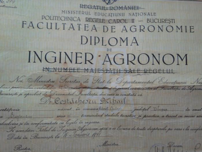 Politehnica Regele Carol II Bucuresti Facultatea Agronomie, Inginer agronom 1941