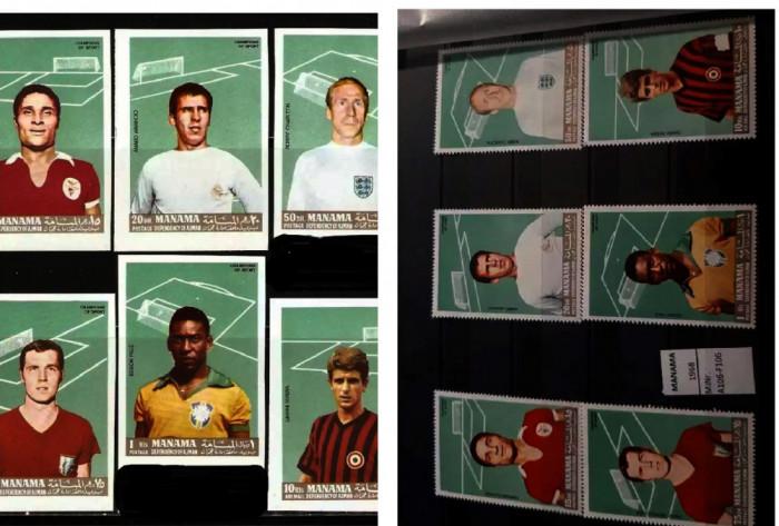 MANAMA 1968 -Fotbal - Jucatori de top seria dantelata si nedantelata