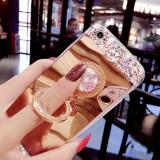 Husa Silicon tip oglinda cu pietricele si inel pentru iPhone 6 / 6s