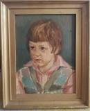 Grigore Popovici Tablou 1973 Portret de copil pictura ulei inramat 48x40cm, Portrete, Altul