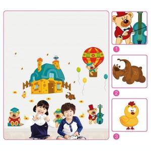 Sticker perete copii Ursuleti in actiune