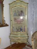 Vitrina de colt baroc venetian,antica/vintage,pictata,Italia/mobila veche, Comode si bufete, 1900 - 1949