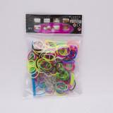 Set rezerve pentru kit de confectionat bratari din elastic (diferite culori) , 200 buc inele, cleme S, Vergea impletit