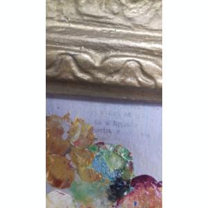 veche pictura ulei tehnica cutit  vas cu flori astept oferte