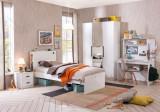 Cumpara ieftin Set Mobila dormitor din pal pentru tineret 5 piese White Small, 200 x 100 cm
