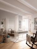 Pat baldachin Birgit 140 x 200 cm, metal, alb