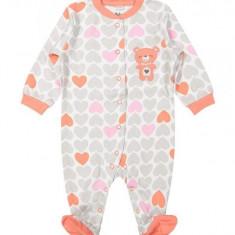 Salopeta / Pijama bebe cu inimioare Z04, 1-2 ani, 1-3 luni, 12-18 luni, 3-6 luni, 6-9 luni, 9-12 luni, Din imagine