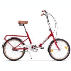 Bicicleta Pegas Practic Retro, Cadru 16inch, Roti 20inch (Rosu)