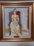 Augustin Costinescu - Femeie in fotoliu, Scene gen, Ulei, Impresionism