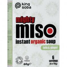 Mighty Miso - supa miso BIO instant cu tofu si ghimbir, 60g KING SOBA