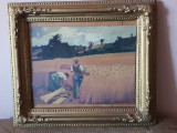Tablou vechi pictura ulei pe panza - rama Blondel - la seceris, Portrete, Realism