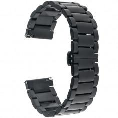 Curea ceas Smartwatch Samsung Gear S3, iUni 22 mm Otel Inoxidabil, Black foto