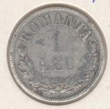 """* Moneda 1 leu 1873 """"L"""" interupt   rara"""