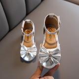 Pantofi eleganti argintii cu fundita