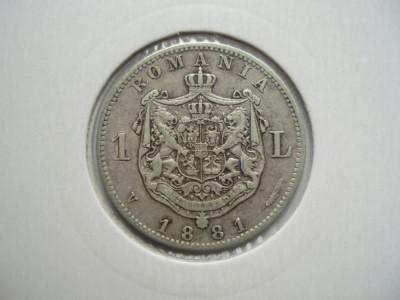 ROMANIA - 1 LEU 1881 Ag835, CAROL I, LCP1.22 foto