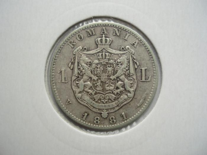 ROMANIA - 1 LEU 1881 Ag835, CAROL I, LCP1.22