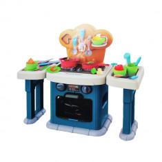 Bucatarie de jucarie pentru copii, cu aragaz, cuptor, chiuveta si alte accesorii si sunete, 39x50x13.5 cm, Albastru
